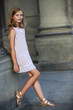 Beautiful young girl in summer dress in Venice, Italy