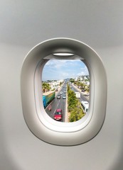 Looking out the window of a plane to the Bodrum in Turkey