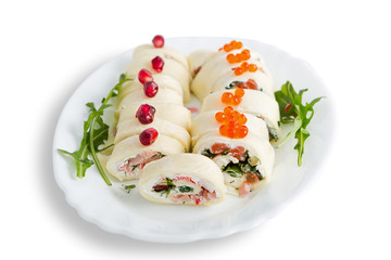 Cheese rolls with ham and red fish