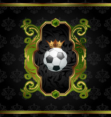 Football label with golden crown