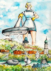 Cleaning lady.Watercolors