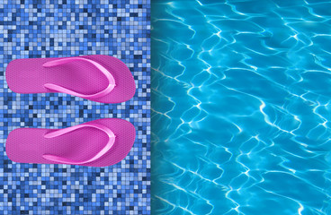 Swimming pool and pink beach shoes on tile