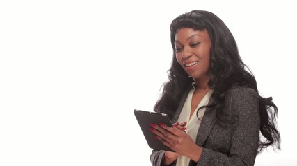 African American black woman using tablet pc