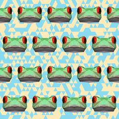 abstract geometric polygonal frog seamless pattern