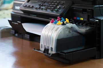 Refillable ink tanks of a inkjet printer