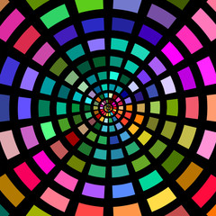 Circles of multicolored blocks on black.
