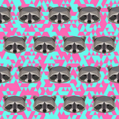 Polygonal abstract geometric raccoon seamless pattern
