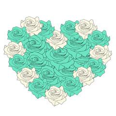 Big heart of roses, Valentine's Day card, vector illustration de