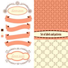 Set of label, frame, banner, pattern. Vintage design, vector ill