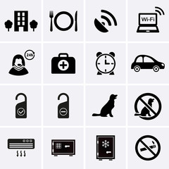 Hotel Services and Facilities Icons. Set 2.