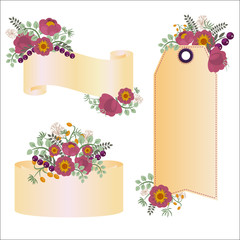 Set of 4 retro banners with flowers and berries