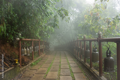 Keuken foto achterwand Bossen Buddhism bells on hanging from a foggy bridge in a misty forest