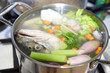 Cooking  fish broth with vegetables - 79834430