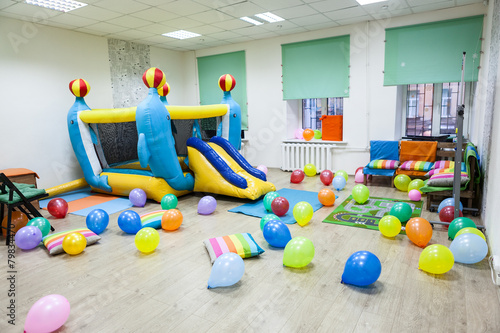 Interior of room, inflatable trampoline, kids birthday or party - 79834470