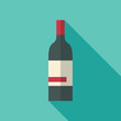 Wine bottle icon in vintage style. Long shadow flat design.