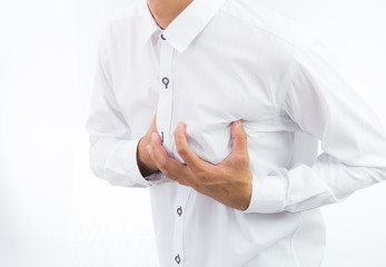 businessman having heart attack isolate