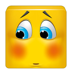 Square emoticon ashamed