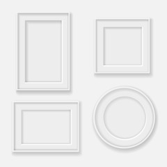 blank  white picture frame template set