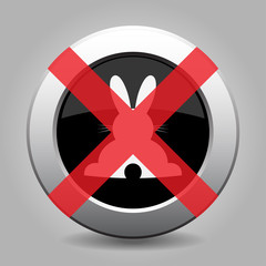 no white back Easter bunny - metal button