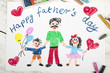 Happy fathers day card made by a child - 79837212