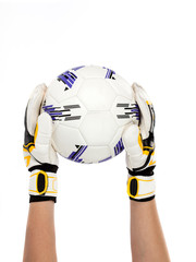 soccer goalkeeper with ball in his hand on white background