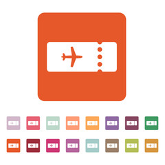 The blank ticket plane icon. Travel symbol. Flat