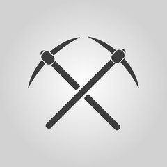 The pick icon. Pickax symbol. Flat