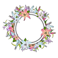 Lily Flower Round Frame