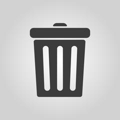 The trashcan icon. Dustbin symbol. Flat