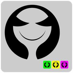 cheerful stylized alien face