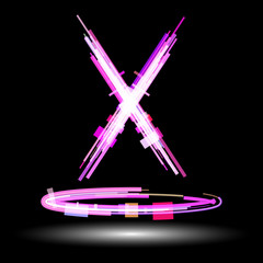 The letter X with glow effect. Raster 1