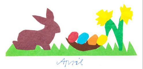 Ostern, Kalenderbild, Kinderbastelei