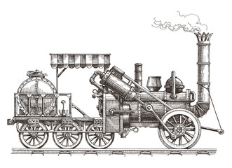 vintage train on a white background. sketch