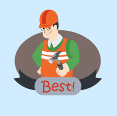Flat vector illustration of smiling worker with hammer, man with