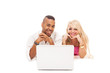 Smiling couple with notebook over white isolated background