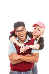 Nerd and sexy blonde girl over white isolated background