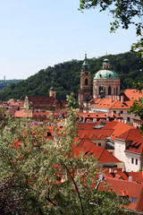 Houses with traditional red roofs in Prague