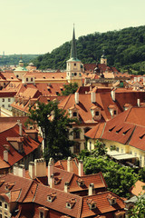 Houses with traditional red roofs in Prague.
