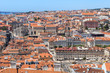 Bird view of Lisboa downtown. Baixa, Rossio and Chiado rooftops