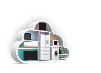 Home appliances in cloud shape for IOT concept.