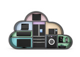 Home appliances in cloud shape for IOT concept poster