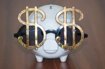 Dollar sunglasses and piggy bank