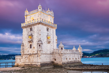 Belem tower at night. Lisbon, Portugal