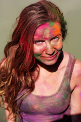 Portrait of girl with paint on her face