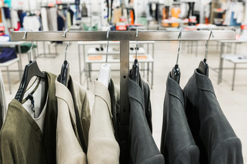 Men's jackets on a hangers