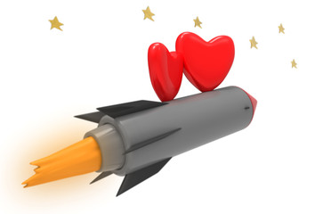 love hearts flying on a rocket in the sky with stars