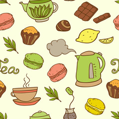 Seamless pattern with teapot and cakes