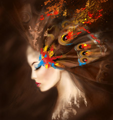 Fantasy Portrait woman butterfly. Abstract illustration