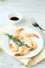 Delicious shrimp with soy sauce