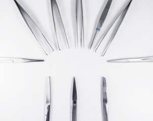 surgical instruments arranged in a pattern 2